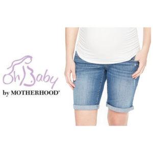 Oh Baby Motherhood Maternity Bermuda Jean Shorts L